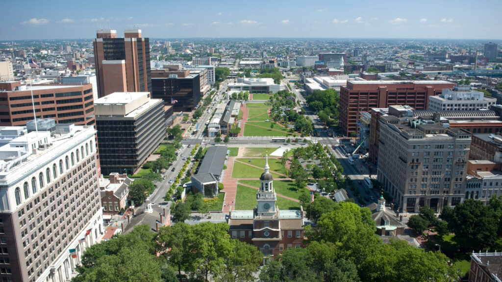 Birds eye view of independence national historic park in Philadelphia